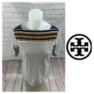 Tory Burch Striped Embroidered T-shirt